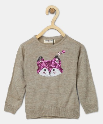 Miss & Chief Embellished Round Neck Casual Girls Brown Sweater at flipkart