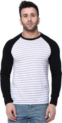 Fenoix Striped, Printed Men Round Neck White, Black T-Shirt