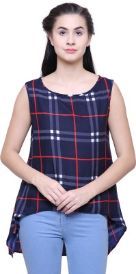 2 Day Casual Sleeveless Checkered Women's Blue Top