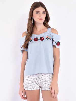 Trendy Divva Casual Half Sleeve Embroidered Women Blue Top