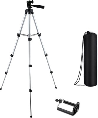 Blue Birds Camera Stand Tripod With 3-Way Head Tripod for Canon Nikon Digital Camera DV Camcorder, Tripod 3110 with mobile Phone holder mount for all Smartphones Tripod(Silver, Black, Supports Up to 1500 g)  available at flipkart for Rs.1499