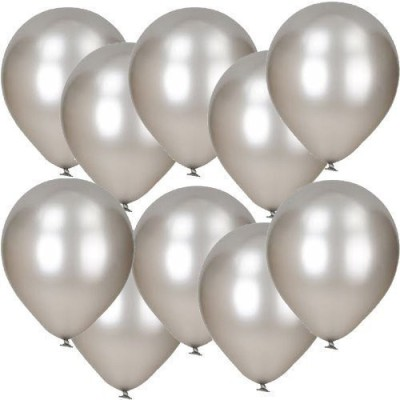 DADEALS Solid BALLOONS-METTALIC-50PCS-Silver Balloon(Silver, Pack of 50)