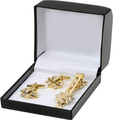 Exotica Fashions Metal Cufflink & Tie Pin Set(Gold)