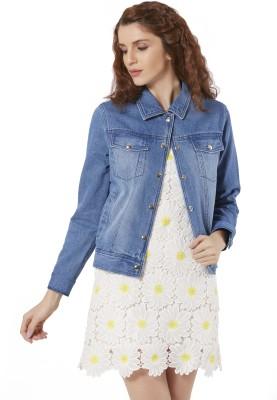 Merlot Full Sleeve Solid Women Denim Jacket at flipkart