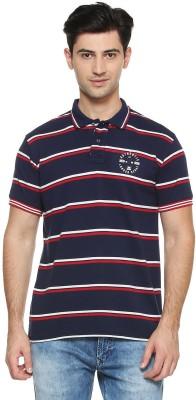 Peter England Striped Men Polo Neck Dark Blue T-Shirt