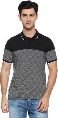 Peter England Printed Men Polo Neck Grey T-Shirt
