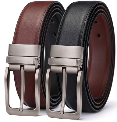 ZORO Men Casual, Party, Formal, Evening Black Artificial Leather Reversible Belt