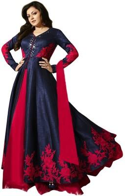 Fashionuma Silk Applique Semi-stitched Salwar Suit Dupatta Material