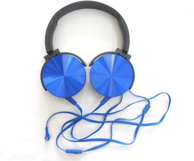 laxes headphones with mic and wire, compatible with all devices (blue) Wired Headset with Mic(Blue, Black, On the Ear)