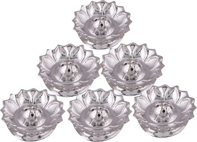 Shreeng silver plated set of 6 lotus incense stand 6 pcs. Stainless Steel(6 Pieces, Silver) at flipkart