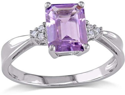 SMS Retail 9.25 Ratti Stone Amethyst Sterling Silver Plated Ring at flipkart