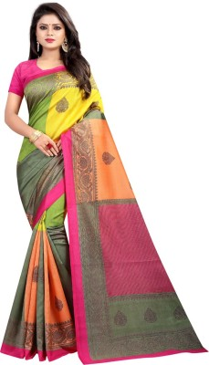 HITESH ENTERPRISE Embroidered Mysore Art Silk Saree(Multicolor)
