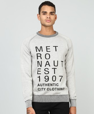 Metronaut Printed Round Neck Casual Men Grey Sweater
