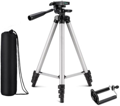 KBOOM Camera Stand Tripod With 3-Way Head Tripod for Canon Nikon Digital Camera DV Camcorder, Tripod 3110 with mobile Phone holder mount for all Smartphones Tripod(Silver, Black, Supports Up to 1500 g)