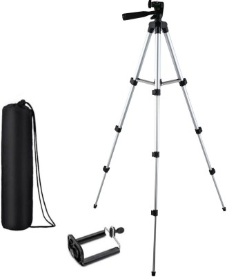 KBOOM Camera Tripod Stand With 3-Way Head Tripod for Digital Camera DV Camcorder, Tripod 3110 with mobile Phone holder mount Tripod(Silver, Black, Supports Up to 1500 g)