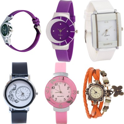 NEUTRON Modern Fashionable World Cup And Peacock And Flower And Butterfly Purple Color 6 Watch Combo (G4-G10-G13-G20-G24-G62) For Girls And Women New Unique Combo Watch  - For Girls