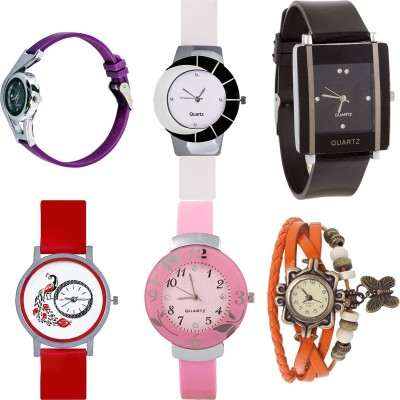 NEUTRON New Chronograph World Cup And Peacock And Flower And Butterfly Purple Color 6 Watch Combo (G4-G11-G12-G22-G26-G62) For Girls And Women New Unique Combo Watch  - For Girls