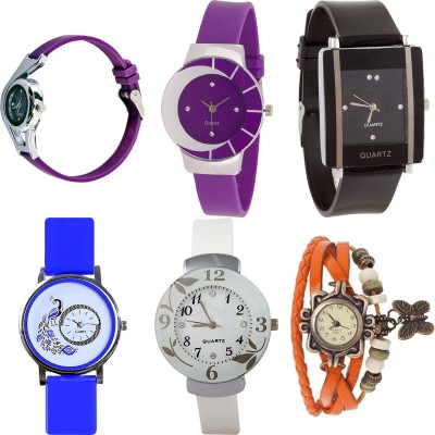 NEUTRON Brand New Love World Cup And Peacock And Flower And Butterfly Purple Color 6 Watch Combo (G4-G10-G12-G19-G28-G62) For Girls And Women New Unique Combo Watch  - For Girls
