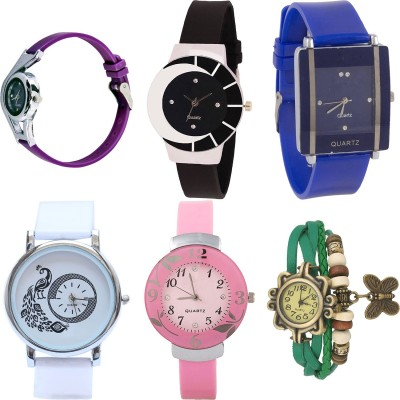 NEUTRON Treading Branded World Cup And Peacock And Flower And Butterfly Purple Color 6 Watch Combo (G4-G8-G13-G20-G28-G61) For Girls And Women New Unique Combo Watch  - For Girls