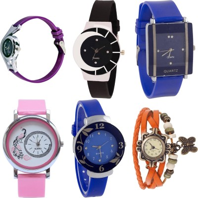NEUTRON Modern Collegian World Cup And Peacock And Flower And Butterfly Purple Color 6 Watch Combo (G4-G8-G13-G20-G25-G62) For Girls And Women New Unique Combo Watch  - For Girls