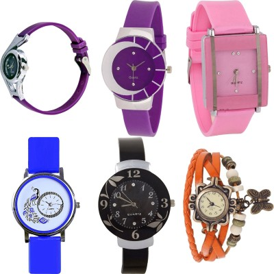 NEUTRON Contemporary Love World Cup And Peacock And Flower And Butterfly Purple Color 6 Watch Combo (G4-G10-G14-G19-G24-G62) For Girls And Women New Unique Combo Watch  - For Girls