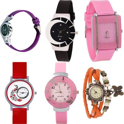NEUTRON Latest Fancy World Cup And Peacock And Flower And Butterfly Purple Color 6 Watch Combo (G4-G8-G14-G22-G26-G62) For Girls And Women New Unique Combo Watch  - For Girls