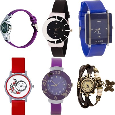 NEUTRON Best Present World Cup And Peacock And Flower And Butterfly Purple Color 6 Watch Combo (G4-G8-G13-G22-G27-G61) For Girls And Women New Unique Combo Watch  - For Girls