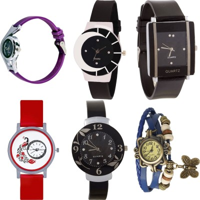 NEUTRON Modish Casual World Cup And Peacock And Flower And Butterfly Purple Color 6 Watch Combo (G4-G8-G12-G22-G24-G59) For Girls And Women New Unique Combo Watch  - For Girls