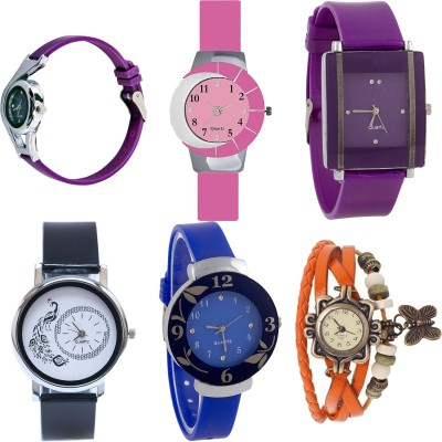 NEUTRON Classical Fancy World Cup And Peacock And Flower And Butterfly Purple Color 6 Watch Combo (G4-G9-G15-G18-G25-G62) For Girls And Women New Unique Combo Watch  - For Girls