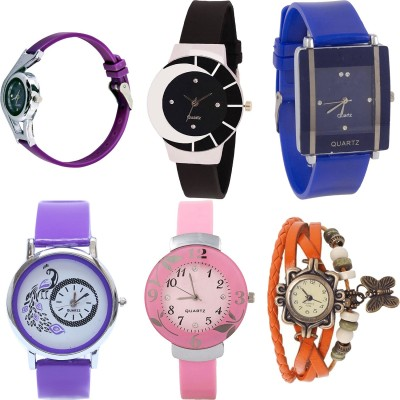 NEUTRON Latest Italian Designer World Cup And Peacock And Flower And Butterfly Purple Color 6 Watch Combo (G4-G8-G13-G21-G26-G62) For Girls And Women New Unique Combo Watch  - For Girls