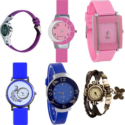 NEUTRON Brand New Professional World Cup And Peacock And Flower And Butterfly Purple Color 6 Watch Combo (G4-G9-G14-G19-G25-G61) For Girls And Women New Unique Combo Watch  - For Girls
