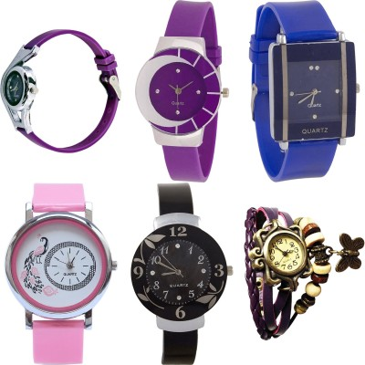 NEUTRON Contemporary Fashionable World Cup And Peacock And Flower And Butterfly Purple Color 6 Watch Combo (G4-G10-G13-G20-G24-G64) For Girls And Women New Unique Combo Watch  - For Girls