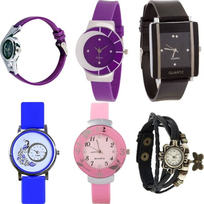 NEUTRON New Branded World Cup And Peacock And Flower And Butterfly Purple Color 6 Watch Combo (G4-G10-G12-G19-G26-G58) For Girls And Women New Unique Combo Watch  - For Girls