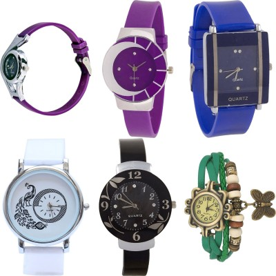NEUTRON Modish Fashionable World Cup And Peacock And Flower And Butterfly Purple Color 6 Watch Combo (G4-G10-G13-G23-G24-G60) For Girls And Women New Unique Combo Watch  - For Girls