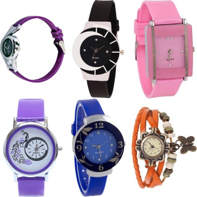 Freny Exim beautiful stylish attractive rakhi collection vintage blue red dori combo watch pink black pu belt women watch Bracelet watches Watch  - For Girls