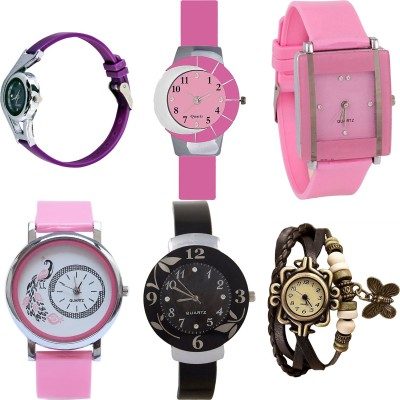 NEUTRON Treading Diwali World Cup And Peacock And Flower And Butterfly Purple Color 6 Watch Combo (G4-G9-G14-G20-G24-G61) For Girls And Women New Unique Combo Watch  - For Girls