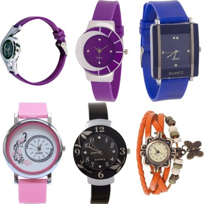 NEUTRON Classical Valentine World Cup And Peacock And Flower And Butterfly Purple Color 6 Watch Combo (G4-G10-G17-G18-G26-G62) For Girls And Women New Unique Combo Watch  - For Girls