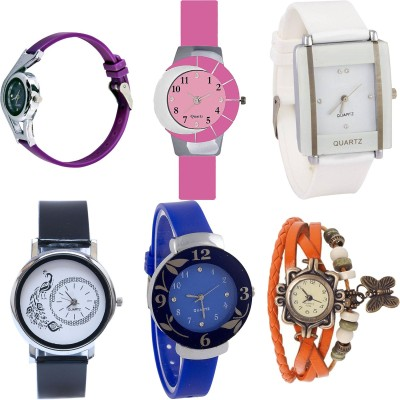 NEUTRON Classical Model World Cup And Peacock And Flower And Butterfly Purple Color 6 Watch Combo (G4-G9-G17-G18-G25-G62) For Girls And Women New Unique Combo Watch  - For Girls