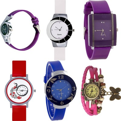 NEUTRON Modern Royal World Cup And Peacock And Flower And Butterfly Purple Color 6 Watch Combo (G4-G11-G15-G22-G25-G63) For Girls And Women New Unique Combo Watch  - For Girls