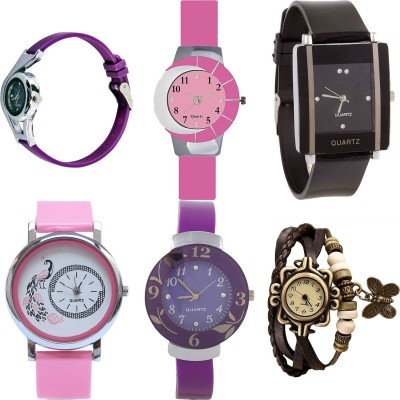 NEUTRON Latest Valentine World Cup And Peacock And Flower And Butterfly Purple Color 6 Watch Combo (G4-G9-G12-G20-G27-G61) For Girls And Women New Unique Combo Watch  - For Girls