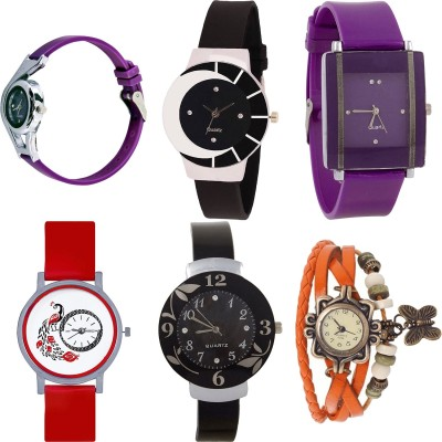 NEUTRON Brand New Quartz Butterfly And World Cup Brown And Purple Color Combo Watch (G61-G4) For Girls And Women Watch  - For Women