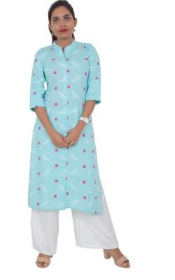 vastrakatha.com Women Printed Straight Kurta(Light Blue, Pink, White)