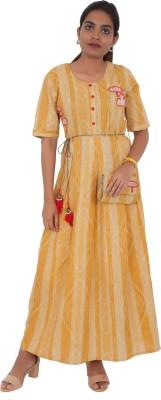 vastrakatha.com Women Printed A-line Kurta(Yellow)