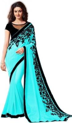 FabPandora Embroidered Fashion Georgette Saree(Light Blue) Flipkart