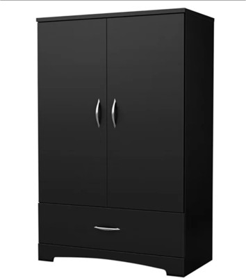 BARON HOMES Almirah Multi-Functional Storage Wardrobe (Black) Solid Wood Almirah(Finish Color - Black)