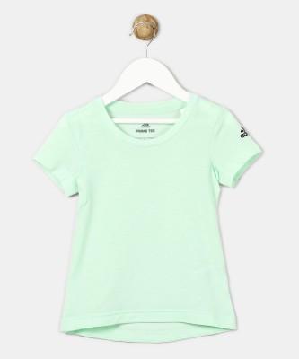 ADIDAS Girls Printed Cotton T Shirt(White, Pack of 1)