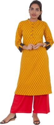 vastrakatha.com Women Printed Straight Kurta(Yellow, Red)