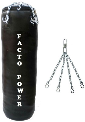 FACTO POWER 4.5 Feet Long, PU Material, Black Color, Unfilled with Hanging Chain Hanging Bag(4.5, 54 kg)