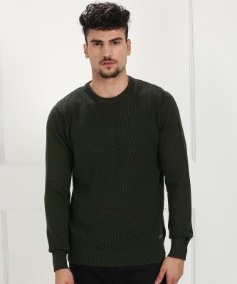 BRAVESOUL Self Design Round Neck Casual Men Green Sweater at flipkart