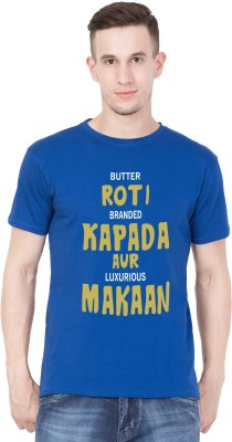 American-Elm Printed, Typography Men Round Neck Blue T-Shirt